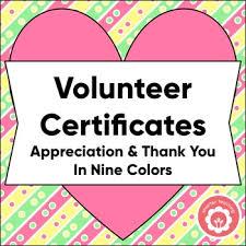 Volunteer Certificates Volunteer Certificates Teaching Resources Teachers Pay Teachers