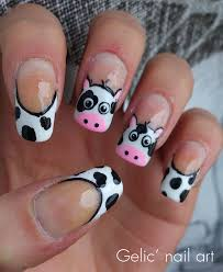 Gelic' nail art: Cow funky french nail art for the Netherlands