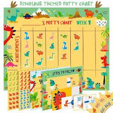 Dinosaur Reward Chart And Stickers Potty Training Chart For Toddlers Dinosaur Design Reward Your Child Sticker Chart 4 Week Chart