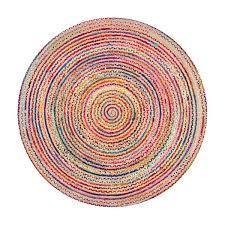 nuloom aleen braided 6 ft round indoor multicolor area rug