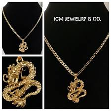 14k gold plated cuban chain with dragon pendant