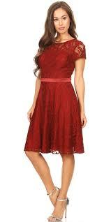 Celavie 6322 Short Sleeve Lace Knee Length Dress Black