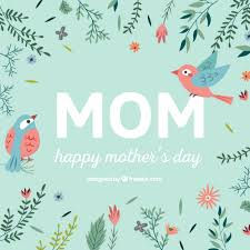 Happy Mothers Day Card With Flowers And Birds Vector Free Download