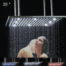 Recessed Ceiling Shower Head  Square  With Chromotherapy Recessed Ceiling Rain Shower Head