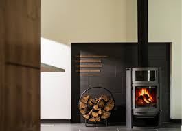 Wood Stove Niche With Black Tiles Home Wood Stove