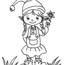 Christmas Girl Elf Coloring Pages