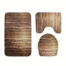 new 3pcs anti slip bath mat wood board pattern bath mat flannel carpet three bath mat