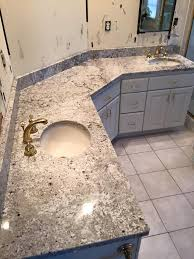 custom granite bathroom countertop with two sinks installed in waukesha wisconsin