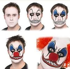 scary clown face paint make up kit with red nose fancy dress makeup