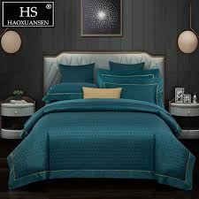 luxury dark green 600 thread count jacquard bedding sets bed linen set queen king size cotton double bed sheets complete bedding sets duvet sets king