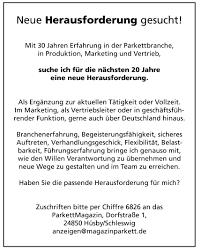 Parkettmagazin Anzeigenmarkt