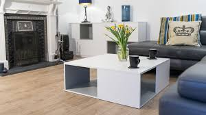 large white coffee table with internal storage