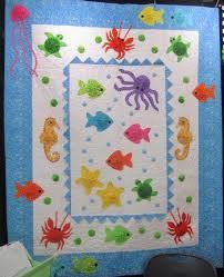 Tropical Ocean Frolic Handmade Quilt featuring Whimsically Shaped ... & Tropical Ocean Frolic Handmade Quilt featuring Whimsically Shaped Sea  Creatures Adamdwight.com