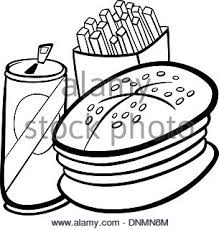 Il Fast Food Cartoon Per Libro Da Colorare Illustrazione Vettoriale
