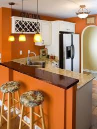 Charming Orange Painted Kitchen Cabinets Photo Design Ideas