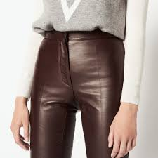 7 8 length leather trousers pants shorts color brown