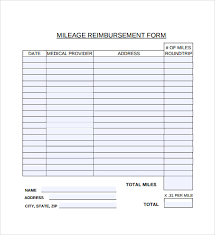 Free Mileage Forms Sample Mileage Reimbursement Form 8 Download Free