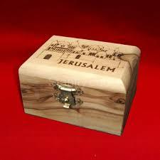 olive wood handmade laser jewelry box with laser jerum