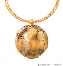 gold earth globe on golden chain 3d