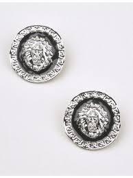 rich girl lion medallion earrings in silver
