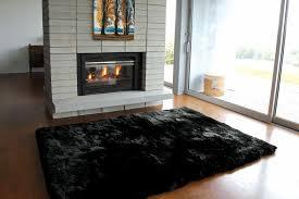 black sheepskin rug. Sheepskin Rug Long Wool Black E