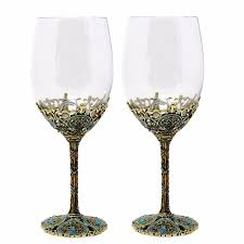 keytrend luxury wine glass vintage black plated alloy base blue rhinestones decoration aecl115 wine glasses