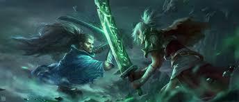 riven vs yo by qiang zhou hd wallpaper background fan art artwork league of legends lol