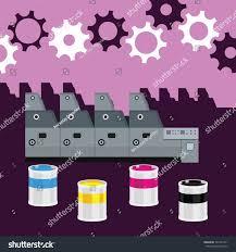Offset Machine Color Paint Print Cyan Stock Vector 327227471