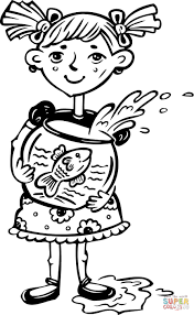 Small Picture Girl Holding Her Fish Bowl coloring page Free Printable Coloring