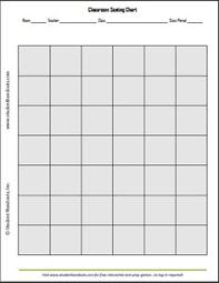 10x8 Horizontal Classroom Seating Chart Template Free Printable