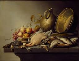 kitchen utensils art. Still Life Of Game, Fish, Fruit And Kitchen Utensils Art T