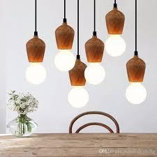 modern oak wood pendant lights vintage cord pendant lamp hanging light fixture black wire edison e27 bulb suspension luminaire pendant lamp holder