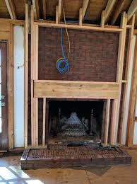 mounting tv above brick fireplace framing junction boxes final into