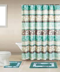 home dynamix bath boutique shower curtain and bath rug set bq06 zen turquoise bath boutique collection shower accessories set shower curtain sets