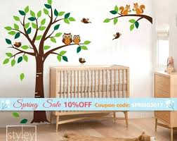 forest animals tree wall decal woodland squirrels owl and birds animal decals for nursery baby