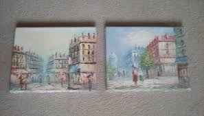a pair of parisian scenes paris france original oil paintings by burnett