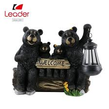 handmade garden solar black bear family