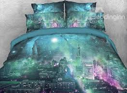 63 onlwe 3d city skyline under green galaxy cotton 4 piece bedding sets duvet covers