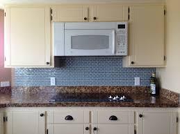 kitchen backsplash blue subway tile. Vintage Kitchen Decors With Cream Painted Cabinetry Set Brown Tiled Countertops And Blue Subway Tiles Backsplash Tile C