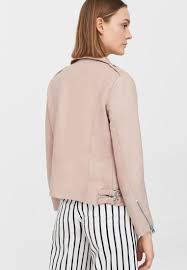 mango mer leather jacket light pink women attractive design mango jackets ireland save off