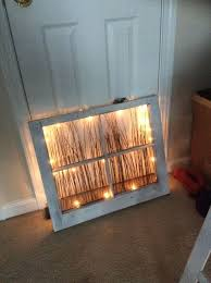 repurposed window nightlight battery powered led strand twigs old window