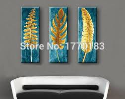 the golden leaf hand make modern home decorative feather painting on the wall living room on gold leaf feather wall art with the golden leaf hand make modern home decorative feather painting