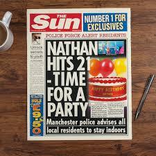 Spoof Newspaper Template Free The Sun Personalised Spoof Newspaper Article Birthday