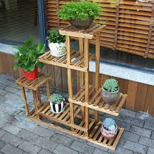 5 tier wood shelf plant stand bathroom rack garden planter pot
