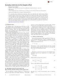 Doppler Effect Equation Light Pdf Everyday Relativity And The Doppler Effect