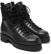 Mens Designer Boots Feit Military Suede Panelled Leather Boots Mens Boots