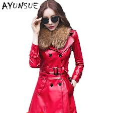 faux rac women s fur coat red leather jacket women coats leather jackets new double ted veste cuir fourrure 5xl wuj1203