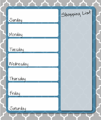 weekly menue planner free printable menu planner template