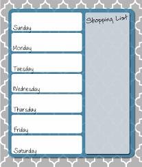 weekly menue planner free printable menu planner template