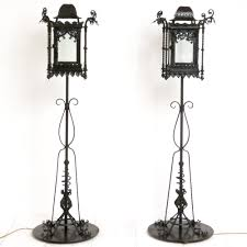 pair of wrought iron standard lamps c 1905 1 of 15